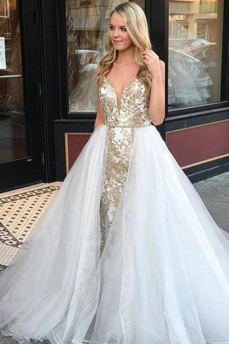 Sheath Spaghetti Straps White Detachable Train Prom Dress with Appliques Quinceanera Dresses XHMPST15373