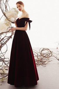 Charming A Line Long Off the Shoulder Burgundy V Neck Prom Dresses with Sweetheart XHMPST15089