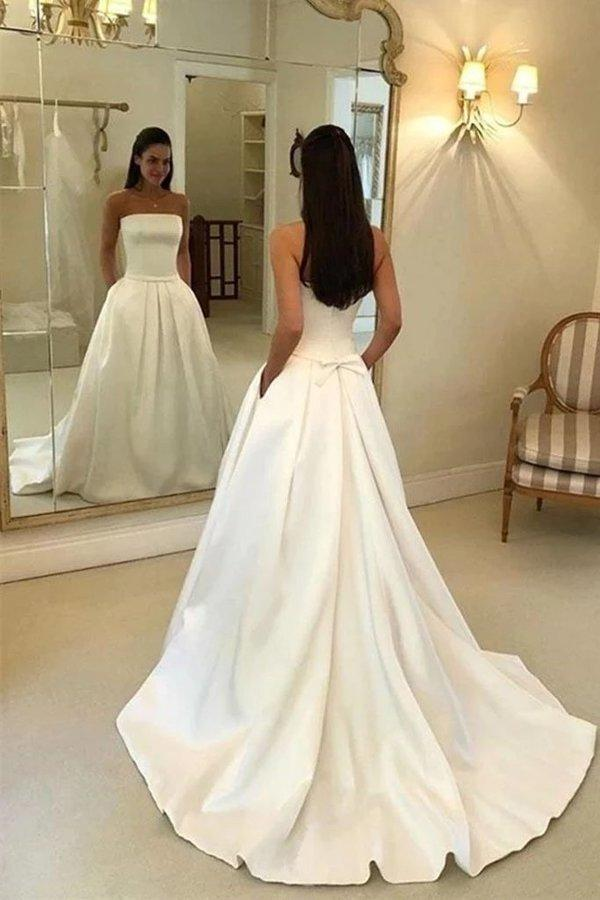 Charming A Line Satin Strapless Wedding Dresses with Pockets Long Bridal Dresses XHMPST15091