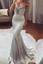 Load image into Gallery viewer, Simple Sweetheart Sleeveless Strapless Mermaid Gray Prom Dresses with XHMPST13972