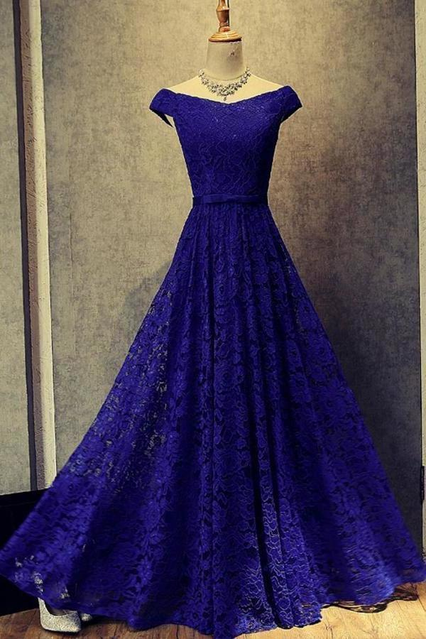Simple Royal Blue A-Line Lace Off-the-Shoulder Lace up Hollow Prom XHMPST13942
