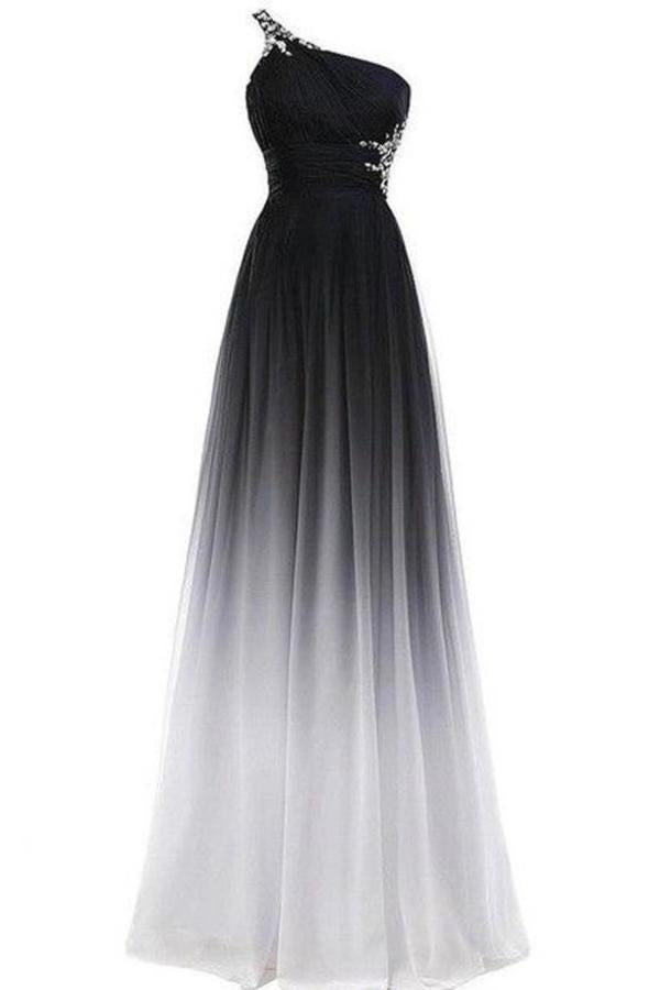 A line Chiffon Black and White One Shoulder Prom Dresses Long Ombre Evening XHMPST10191