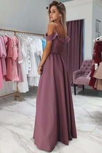 Load image into Gallery viewer, A Line Chiffon Off the Shoulder Prom Dresses Purple Side Slit Evening XHMPST10199