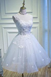 Simple Sweetheart White Lace up Beads Lace Appliques Tulle Straps Homecoming XHMPST13976