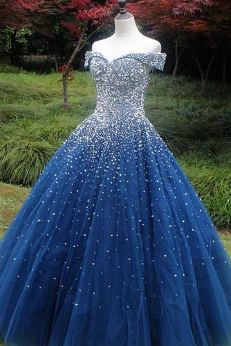 Sparkle Off the Shoulder Blue Ball Gown Prom Dresses Puffy Tulle Quinceanera Dresses XHMPST14765