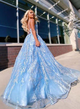 Load image into Gallery viewer, Flowy Ball Gown Light Blue Spaghetti Straps Prom Dresses Lace Appliques Backless Prom Gowns XHMPST15230