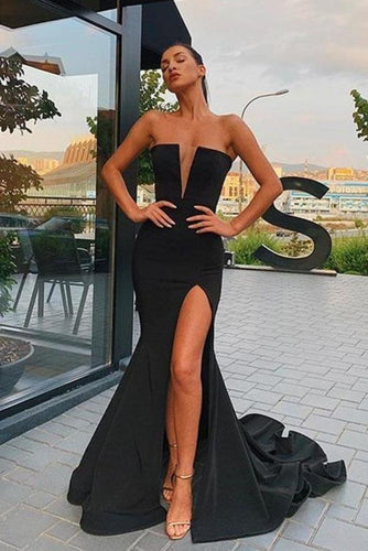 Sexy Black Mermaid V Neck Strapless Prom Dresses with Slit Evening XHMPST15663