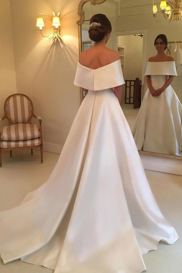 Simple Satin A-line Off the Shoulder Ivory Cheap Bridal Gown Wedding XHMPST13944