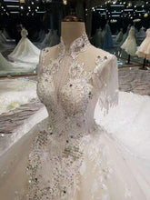 Load image into Gallery viewer, 2020 Luxurious High Neck Wedding Dresses Tulle With Sequins Beads XHMPST14698
