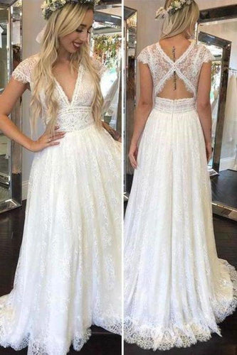 Simple Deep V Neck Lace Appliques Open Back Ivory Wedding Dresses Bridal XHMPST13896