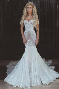 Sexy Queen Mermaid Sweetheart Ivory Lace Off-the-Shoulder Open Back Wedding XHMPST13659