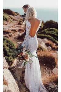 See Through V Neck Lace Rustic Wedding Dresses Long Sleeve Mermaid Wedding XHMPST13477