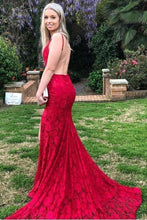 Load image into Gallery viewer, Mermaid Red Lace Backless V Neck Long Prom Dresses Cheap Evening XHMPST12818