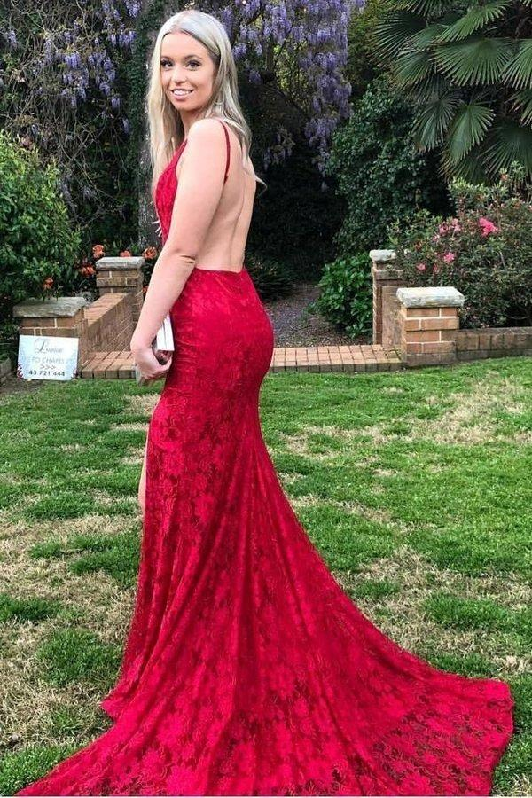 Mermaid Red Lace Backless V Neck Long Prom Dresses Cheap Evening XHMPST12818