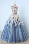 Princess Ball Gown Appliques Blue Tulle Prom Dresses Sweet 16 Dress Quinceanera Dress XHMPST15289