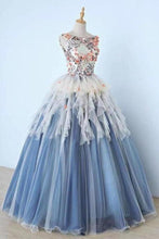 Load image into Gallery viewer, Princess Ball Gown Appliques Blue Tulle Prom Dresses Sweet 16 Dress Quinceanera Dress XHMPST15289