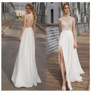 White Side Split Prom Dress Open Back Bridesmaid Dresses Beach Wedding XHMPST14523