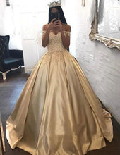 Load image into Gallery viewer, Ball Gown Champagne Gold Satin Quinceanera Dresses Appliques Lace Prom Dresses XHMPST14858