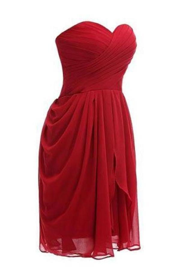 Strapless Chiffon Short Bridesmaid Dresses Prom XHMPST14102