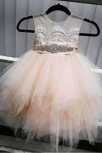 A-Line Tulle Beads Appliques Scoop Blush Pink Button Cap Sleeve Flower Girl XHMPST10929