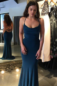 Sexy Mermaid Navy Blue Criss Cross Prom Dresses Long Evening Dresses XHMPST15339