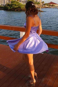 Spaghetti Straps V Neck Lilac Homecoming Dress With Pockets Backless Prom XHMPST14061