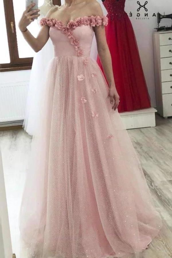Princess A-line 3D Flowers Off the Shoulder Tulle Glitter Prom Dresses Sweetheart Dance Dress XHMPST15287