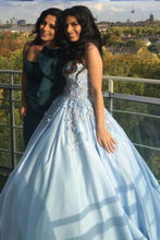 Load image into Gallery viewer, Princess Ball Gown Blue Appliques Strapless Quinceanera Dresses Sweet 16 Dresses XHMPST15290