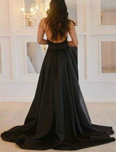 Sexy Deep V-Neck Black Prom Dresses With Beading High Slit Backless Formal XHMPST13571