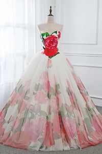 Ball Gown Floral Satin Long Tulle Evening Dresses with Lace up Sweetheart Red Prom Dresses XHMPST15057