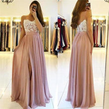 Load image into Gallery viewer, A line Spaghetti Straps Chiffon Sweetheart Prom Dresses with Slit XHMPST10537