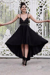 A Line Black V neck Short High Low Spaghetti Straps Prom Dresses Homecoming XHMPST10144