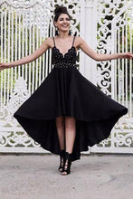 Load image into Gallery viewer, A Line Black V neck Short High Low Spaghetti Straps Prom Dresses Homecoming XHMPST10144