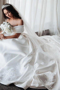Ball Gown Off the Shoulder Satin White Sweetheart Wedding Dresses Wedding Gowns XHMPST15062