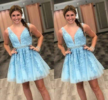 Load image into Gallery viewer, Blue Tulle V Neck Above Knee Beads Lace Appliques Short Homecoming Dresses XHMPST14870