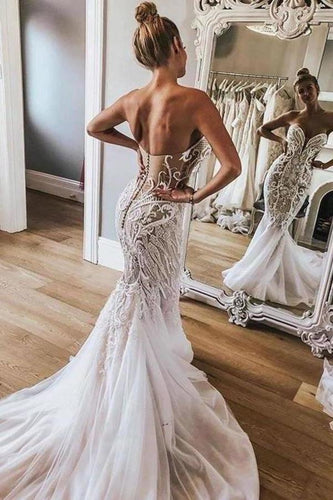 Sexy Mermaid Sweetheart Ivory Strapless Wedding Dresses with Lace XHMPST13637