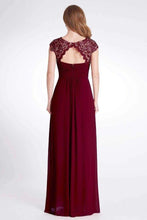 Load image into Gallery viewer, Elegant A Line Cap Sleeve Burgundy Lace Prom Dresses with Chiffon Bridesmaid Dresses XHMPST15145