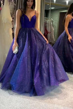 Load image into Gallery viewer, Sparkly Dark Royal Blue Spaghetti Straps V Neck A line Prom Dresses Formal XHMPST20479