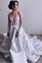 Load image into Gallery viewer, A Lin Ivory Long Sleeve Satin Lace Sweep Train Wedding Dresses Long Bridal XHMPST10120