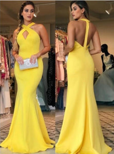 Sexy Sheath Halter Floor Length Ruffles Satin Prom Dresses Yellow Long Formal XHMPST13678
