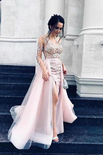 Sexy Long Sleeve Pink Tulle Lace Appliques Mermaid Prom Dresses Evening XHMPST13603