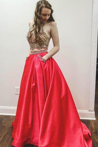 Sparkly Two Piece Beaded Satin Red High Neck Long Prom Dresses with XHMPST14087