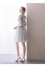 Load image into Gallery viewer, A Line Half Sleeve Lace Short Prom Dresses High Neck Tulle Homecoming Dresses XHMPST14808