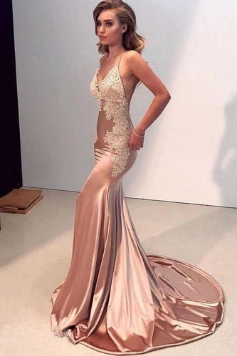 Sexy Mermaid Backless Prom Dress Nude V Neck Long Lace Spaghetti Straps Prom XHMPST13609