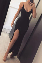 Load image into Gallery viewer, Sexy Black Mermaid Prom Dresses Long with Leg Slit Spaghetti Straps Evening Dresses XHMPST15330