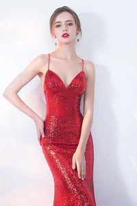 V-Neck Red Mermaid Spaghetti Straps Sparkly Backless Sleeveless Sequins Evening XHMPST14433