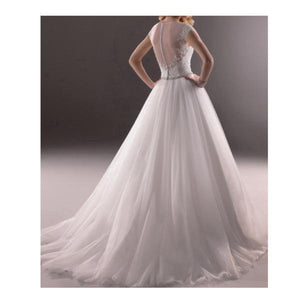 2020 Simple White V-Neck Sleeveless Tulle Lace Beads Floor-Length XHMPST10056
