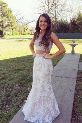 White lace two pieces mermaid beading long prom dress XHMPST14505