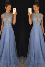 Load image into Gallery viewer, Sky Blue A Line Prom Dresses Tulle Skirt Lace Bodice Prom XHMPST14003