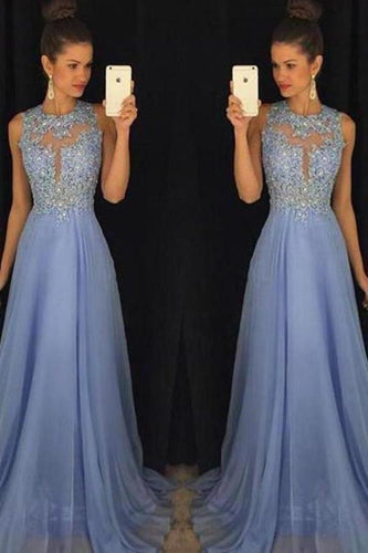 Sky Blue A Line Prom Dresses Tulle Skirt Lace Bodice Prom XHMPST14003